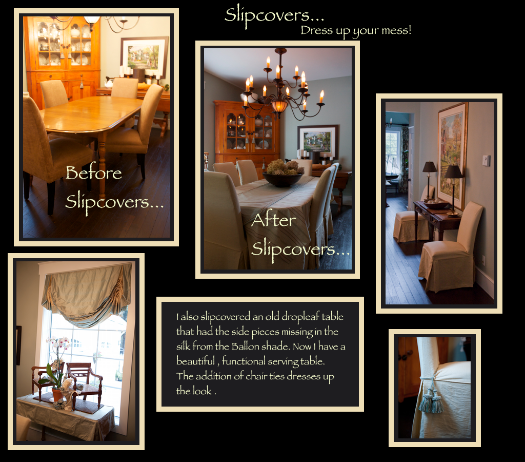 photo of slipcovers on dining table and parson chairs