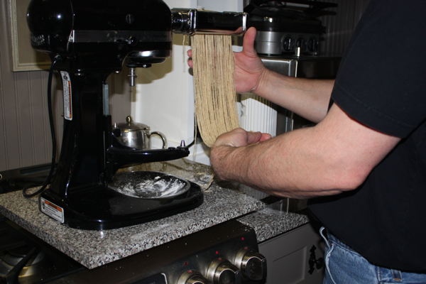 cutting noodles with Kitchen Aid stand mixer