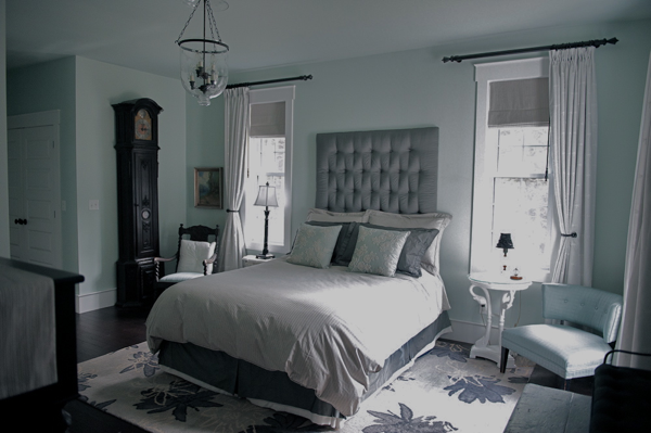 Housetalkn a button tufted life shares a house tour Master bedroom light blue walls
