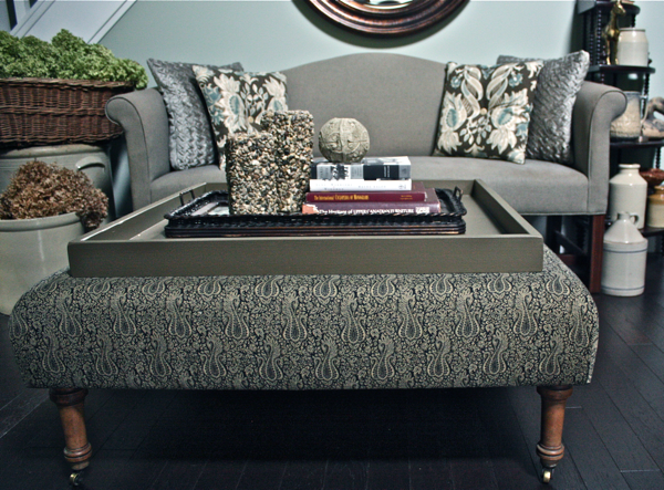 Custom Ottoman With Removable Tray Top