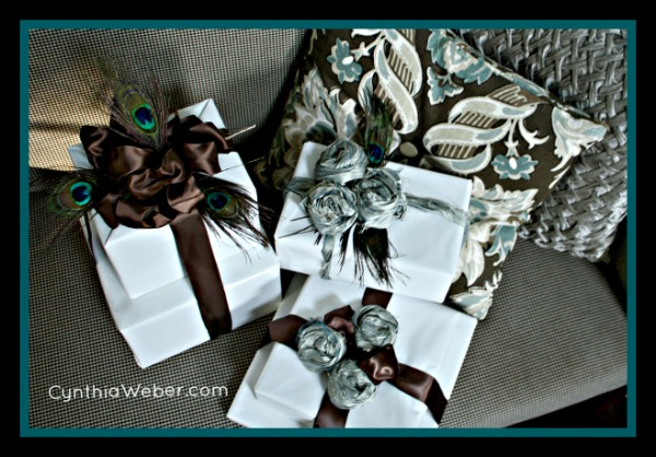 Peacock Holiday Giftwrapping Ideas at Setting for Four