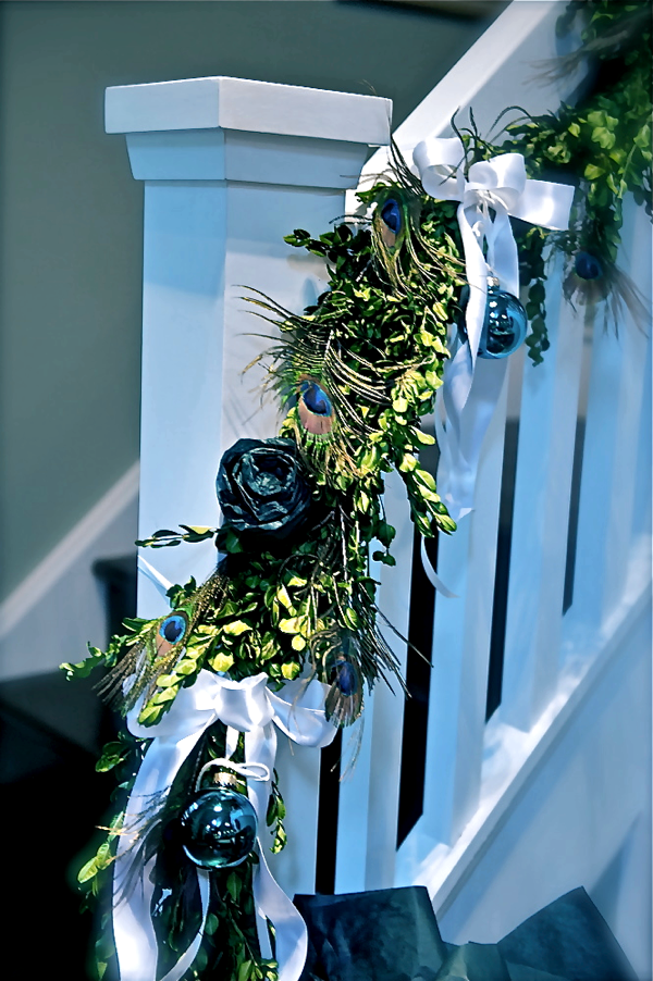 Peacock Holiday Bannister Garland at Setting for Four