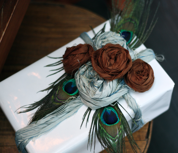 fabric roses on gift