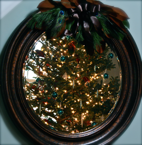 tree in round mirror