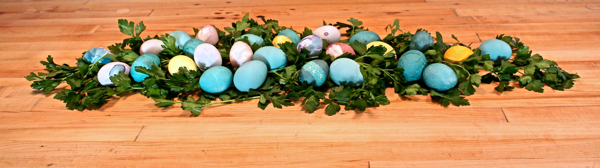 easter eggs in flat leaf parsley for display cynthiaweber.com