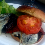 Relaxing in Bayfield…Grilled Portobello Mushroom Burgers with Provolone and sage…