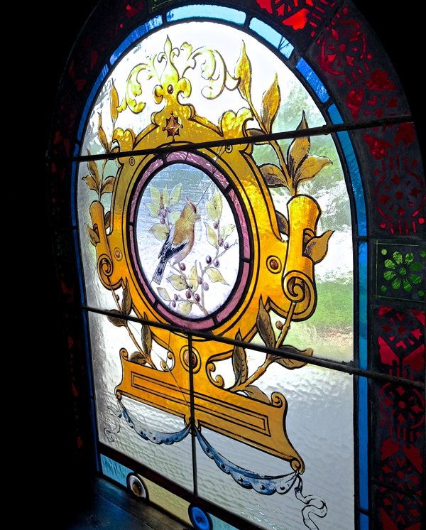 Detail of Stained Glass Window Inn at the Mountain Resort Prince Edward County Ontario