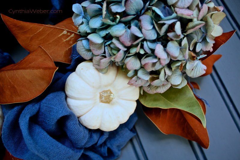 Baby Boo & Hydrangea for a faded and fabulous Fall wreath…cynthiaweber.com