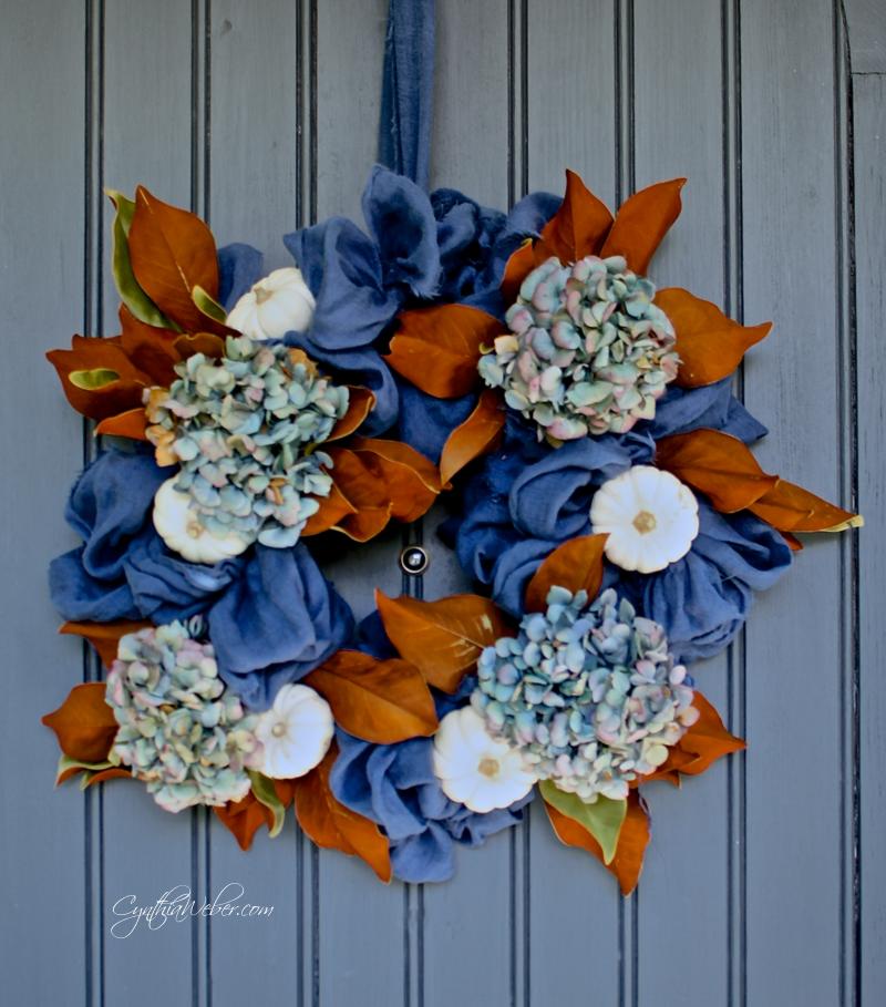 Hydrangea, magnolia and baby boo pumpkins for a Fall Wreath  CynthiaWeber.com