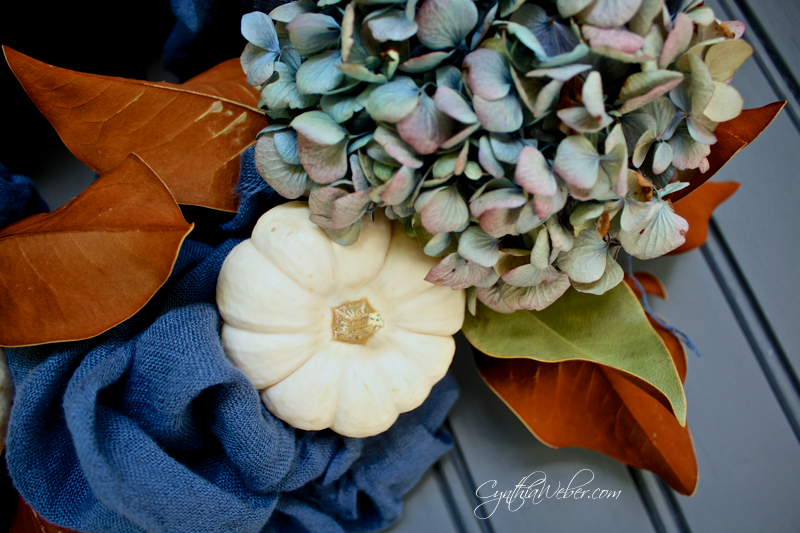 Hydrangea, ripped linen and baby boo pumpkins for a Fall Wreath cynthiaweber.com