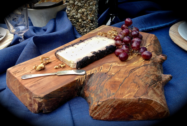 Live edge apple serving board for fall garden dining… CynthiaWeber.com