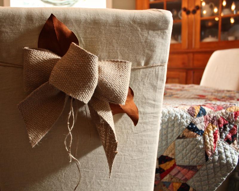 burlap and magnolia chair tie