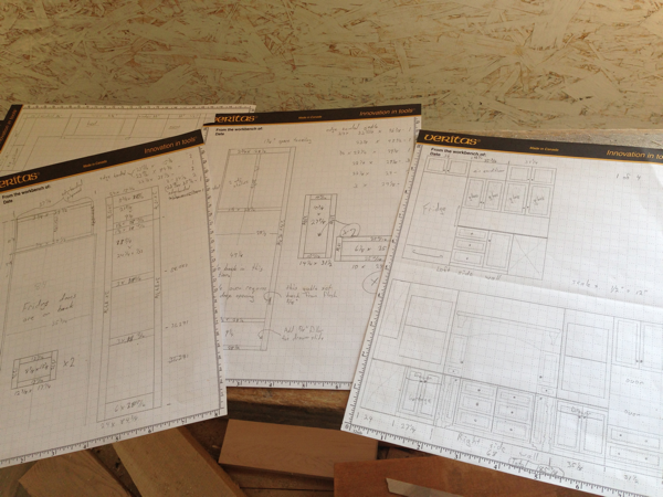 Old school Hand Drawn Cabinetry layout from our Mennonite Cabinetmaker...