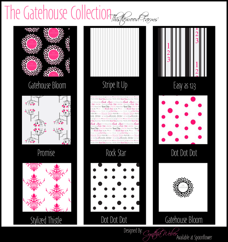 The Gatehouse Collection for Thistlewood Farms Designed by Cynthia Weber available through Spoonflower