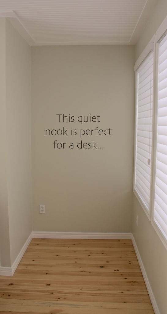 quiet nook will become a private desk area...