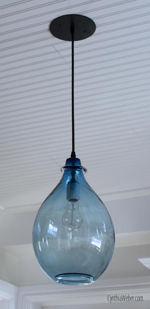 Blue Glass Pendant light CynthiaWeber.com