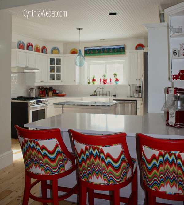Custom Barstools in Distorted by Jonathan Adler… CynthiaWeber.com