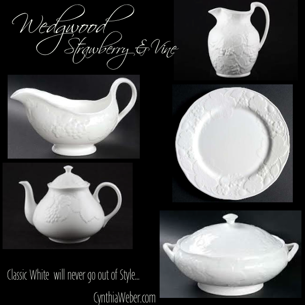 Wedgwood Strawberry and Vine… Classic White will never go out of style. CynthiaWeber.com
