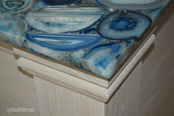 detail of white Oak island with Concetto Blur Agate Top. CynthiaWeber.com