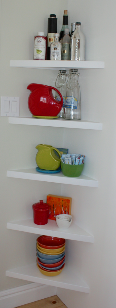 simple open shelves beside fridge… CynthiaWeber.com