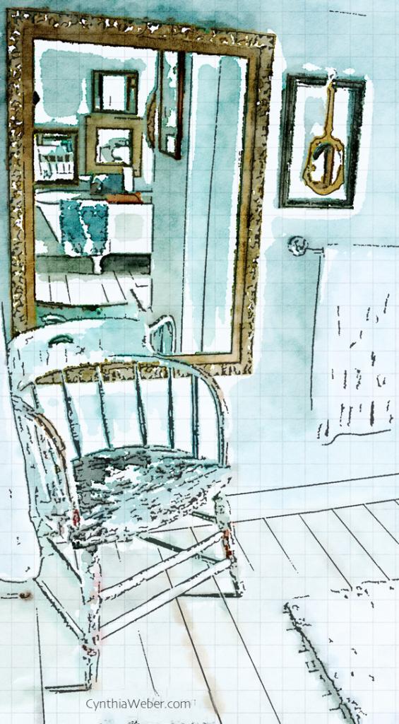 Bathroom detail through the eyes of Waterlogue CynthiaWeber.com