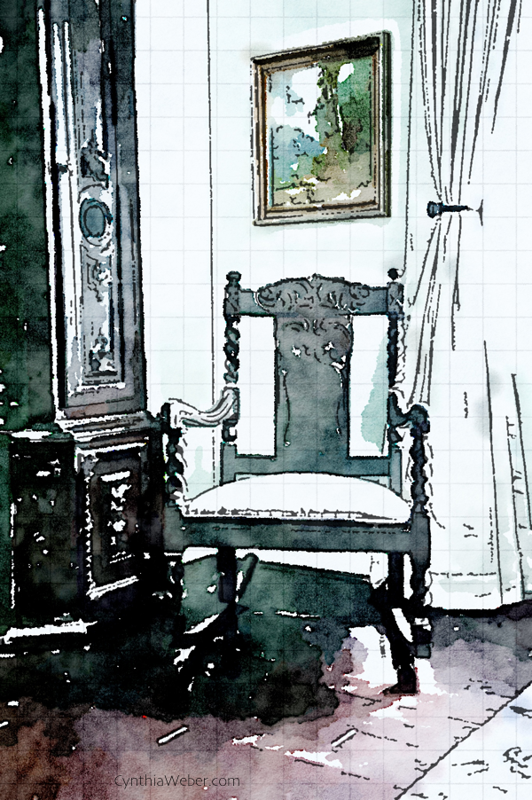 Chair detail through the eyes of Waterlogue CynthiaWeber.com