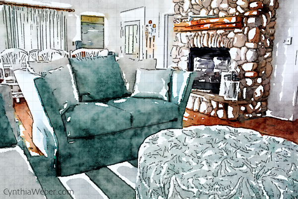 Cottage living room designed by Cynthia Weber through the eyes of Waterlogue CynthiaWeber.com