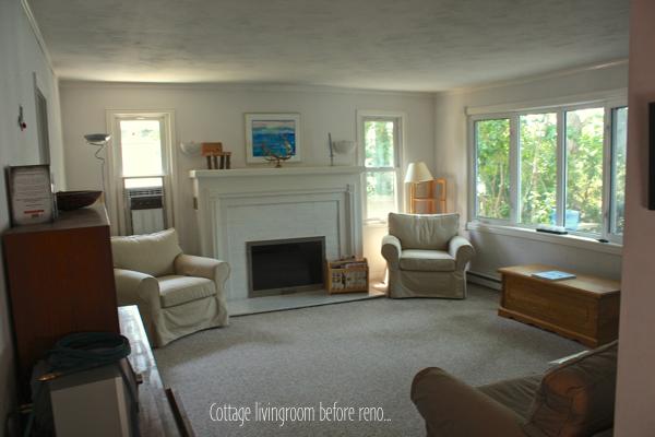 Cottage livingroom before reno CynthiaWeber.com