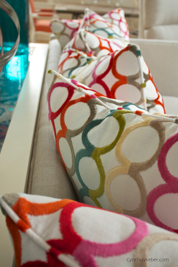 Detail of Sofa Pillows done in Jonathan Adler  Ringleader- Confetti fabric for cottage reno project CynthiaWeber.com