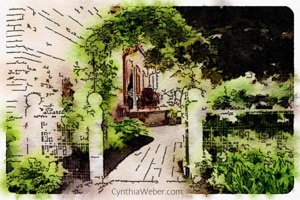 Garden Gate through the eyes of Waterlogue CynthiaWeber.com