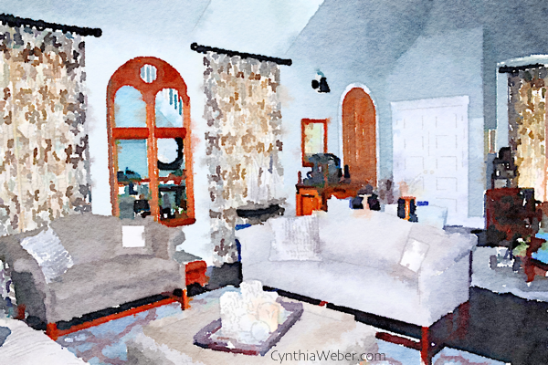 Living room designed by Cynthia Weber as seen through the new App Waterlogue CynthiaWeber.com