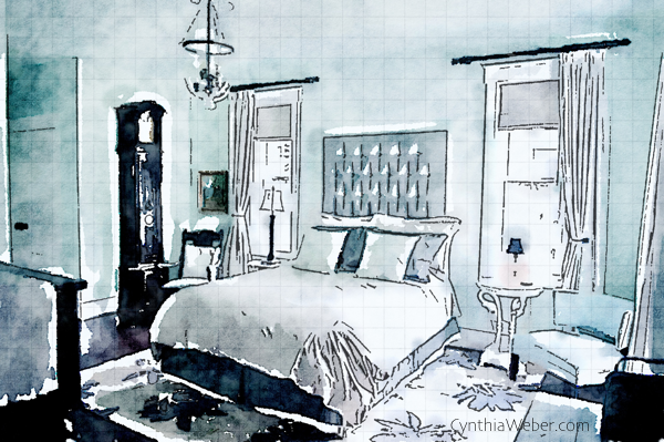 Master Bedroom at Hoop Top House designed by Cynthia Weber as seen through Waterlogue CynthiaWeber.com
