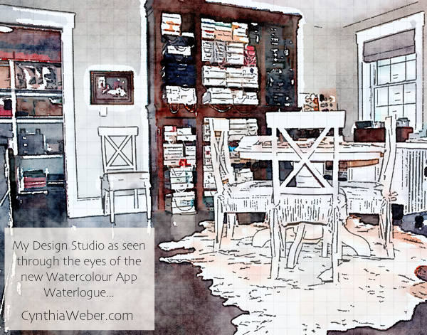 My Design Studio as seen through the eyes of the new watercolour App #Waterlogue CynthiaWeber.com