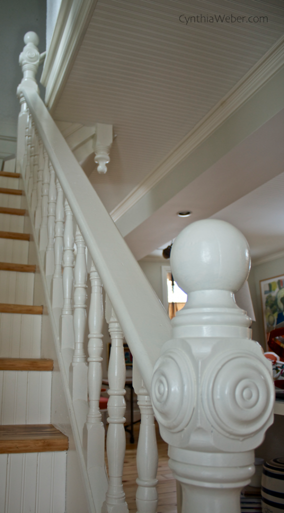 Stair detail in cottage reno project CynthiaWeber.com