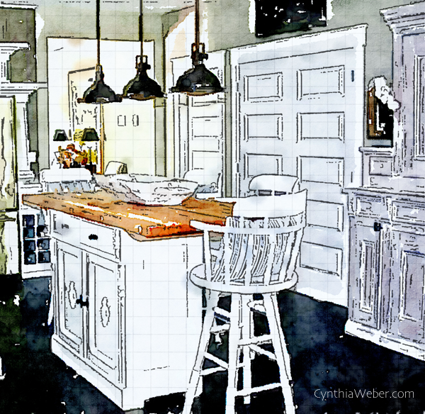 The kitchen at Hoop Top House through the eyes of Waterlogue CynthiaWeber.com