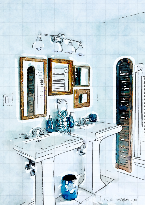 Vintage Glam Bathroom rendering through Waterlogue CynthiaWeber.com