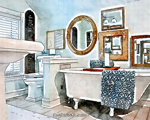 Vintage Glam Bathroom through the eyes of Waterlogue CynthiaWeber.com