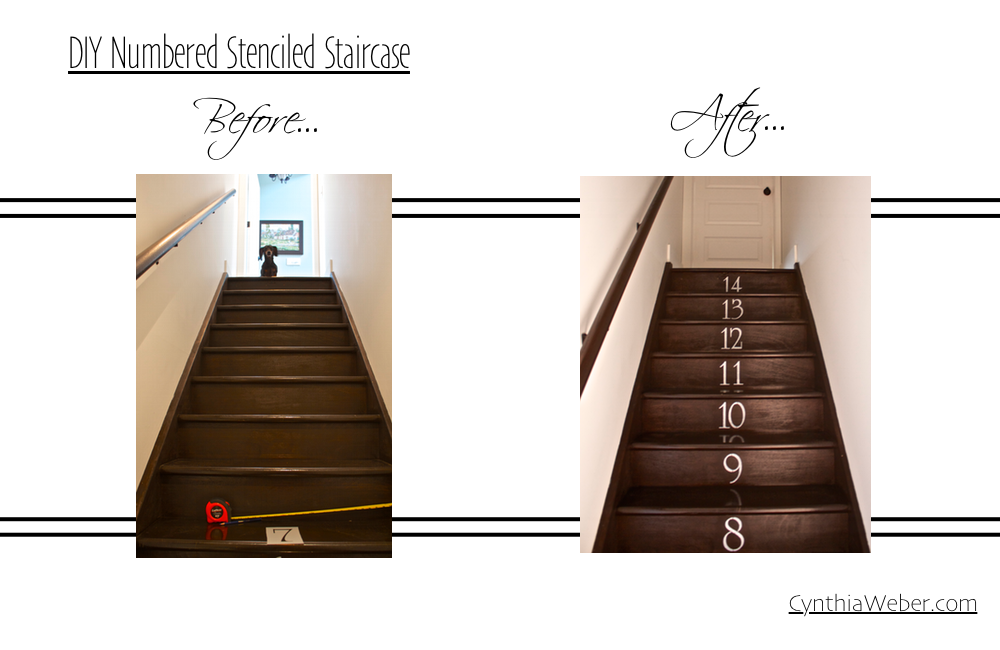 Before and after numbered staircase DIY project CynthiaWeber.com