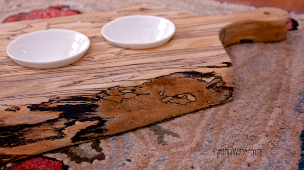 Detail of Spalted Maple Serving Board for Flavoured Oils or Tapenade… CynthiaWeber.com