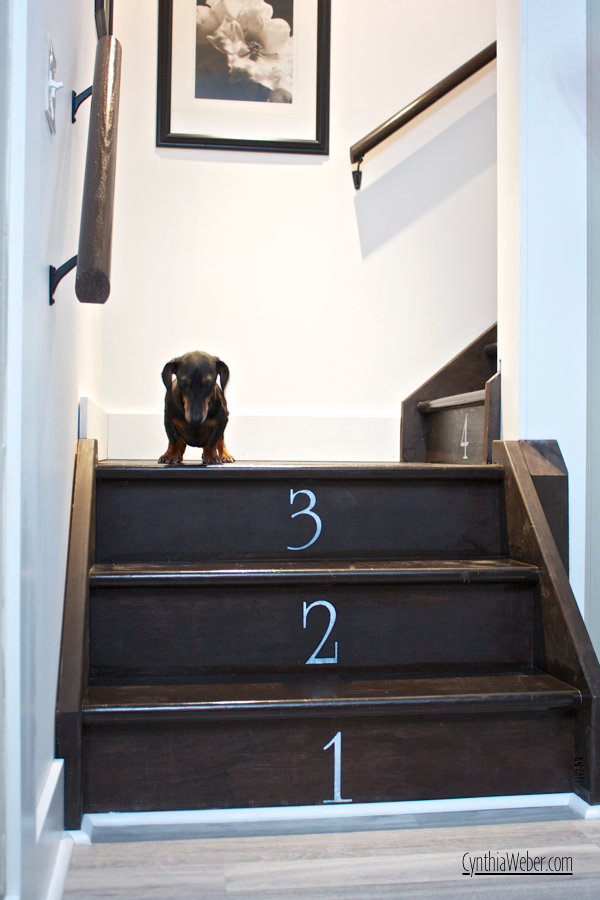 Emmitt inspects the finished stenciled numbers on the basement staircase… CynthiaWeber.com