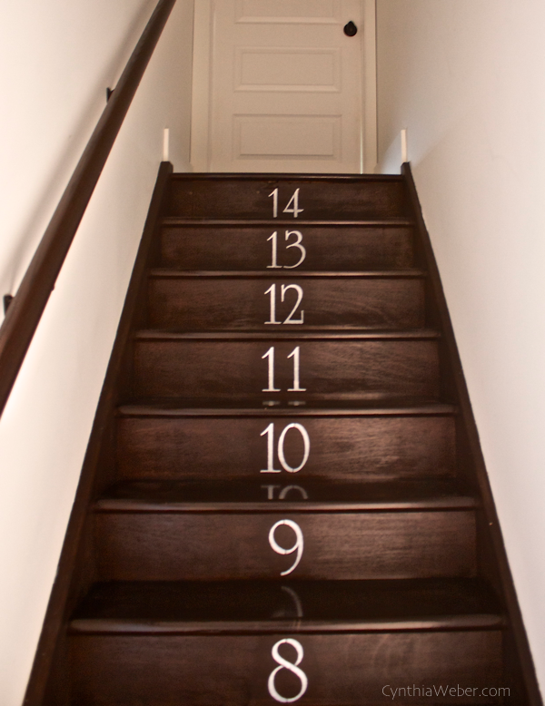 Numbered Staircase project using Alphabet Stencils from Yankee Stencils CynthiaWeber.com