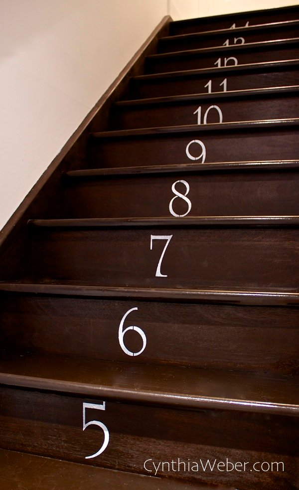 Tutorial for DIY Numbered Staircase CynthiaWeber.com