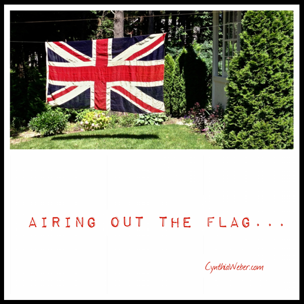 Spring airing of a beautiful vintage Union Jack Flag  CynthiaWeber.com