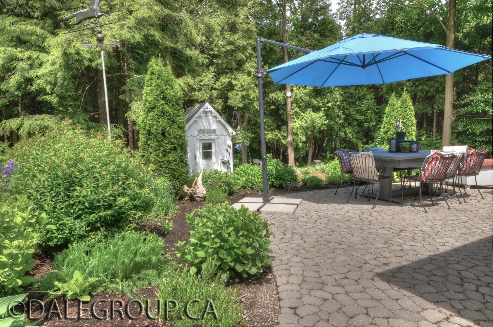 The backyard of Hoop Top House Bayfield Ontario Canada Currently on the market through Dale Group Realty