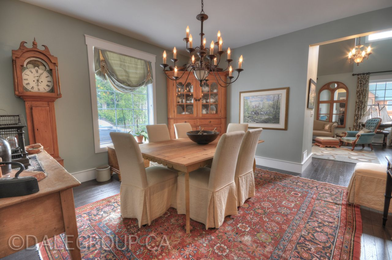 Dining room at Hoop Top House Home of decorator Cynthia Weber Bayfield Ontario Canada on the market through Dale Group Realty