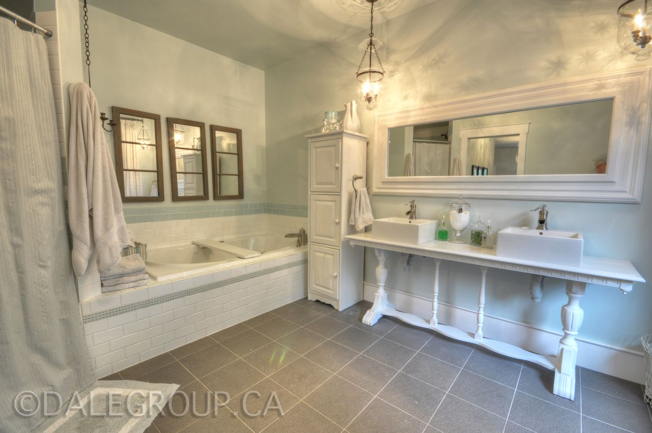 Master Bathroom of Hoop Top House home of decorator Cynthia Weber Bayfield Ontario Canada