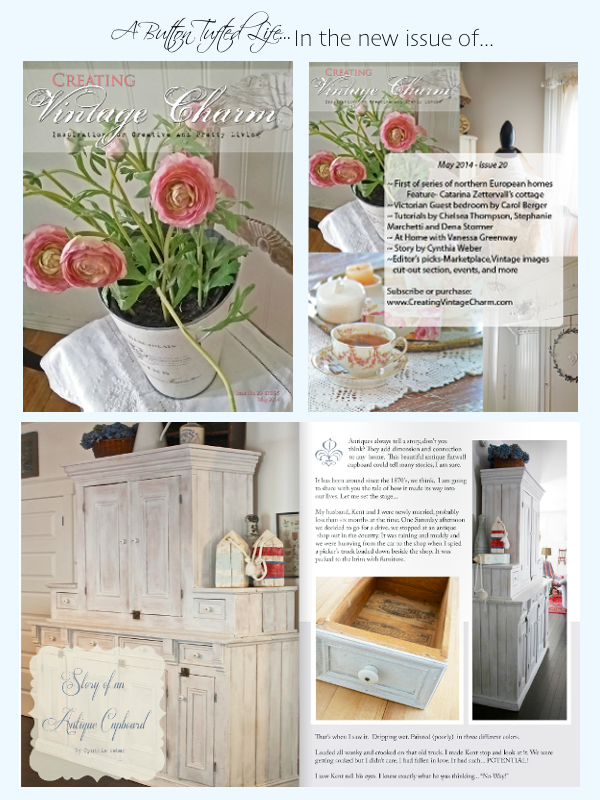 A Button Tufted Life featured in the May 2014 Issue of Creating Vintage Charm