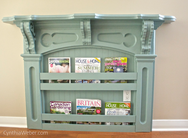 Antique Mantle becomes a charming bookshelf with beadboard and a few pieces of trim. CynthiaWeber.com