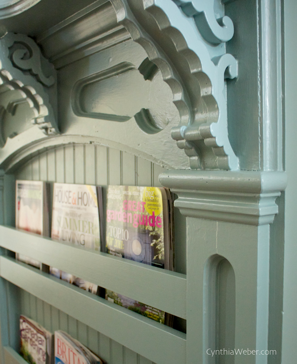 Detail of antique mantle turned bookshelf… CynthiaWeber.com