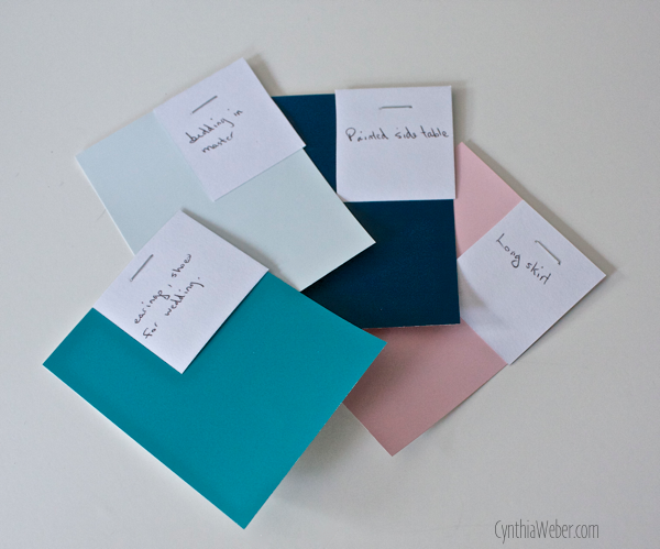 My design tip; easy way to match items using Paint chips… CynthiaWeber.com